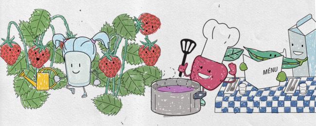 Ruokatutkan hahmot mansikkamaalla, keittiössä.